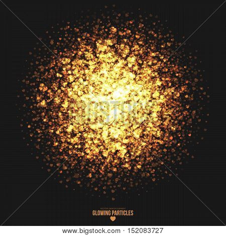 Abstract bright golden shimmer glowing heart shape particles vector background. Scatter shine tinsel light explosion effect. Burning sparks. Celebration, holidays and party illustration