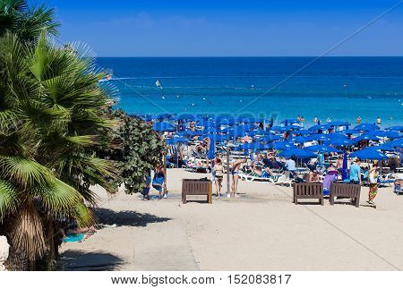 PROTARAS, CYPRUS - 10 OCTOBER 2016: Famous Fig Tree bay beach