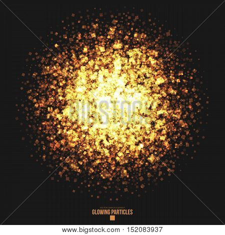 Abstract bright golden shimmer glowing square particles vector background. Scatter shine tinsel light explosion effect. Burning sparks. Celebration, holidays and party illustration