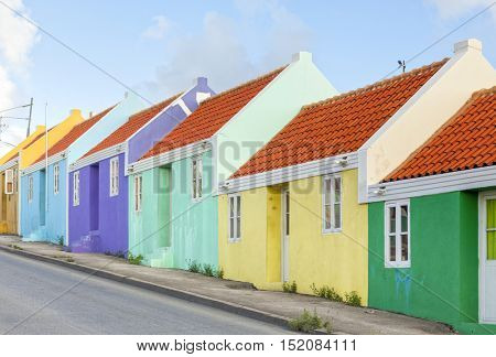 multicolored row homes at Willemstad, Curacao