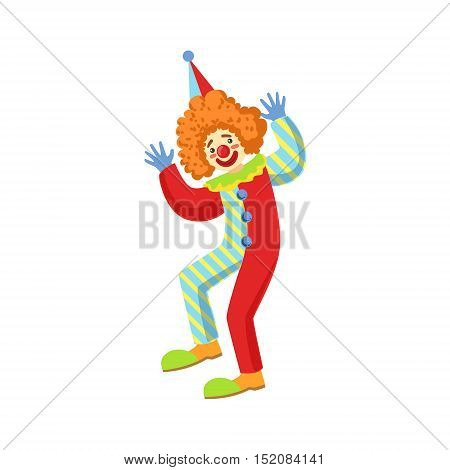 Colorful Friendly Clown Performing In Classic Outfit. Childish Circus Clown Character Performing In Costume And Make Up.