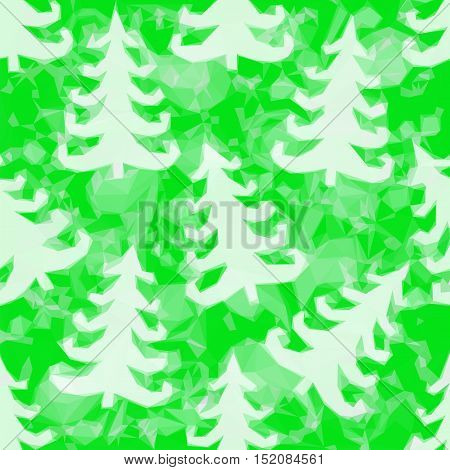 Green Pattern with Fir Trees Silhouettes, Low Poly Background. Vector