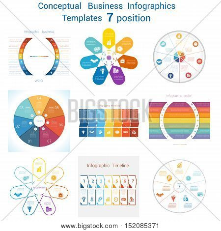 Set Vector templates Infographics business conceptual cyclic processes for seven positions text area possible to use for pie chart workflow banner diagram web design timeline area chart. Eps file is layered and fully organised objects are grouped