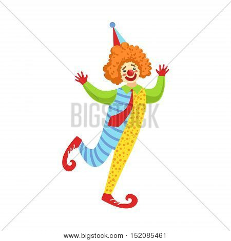 Colorful Friendly Clown With Tie In Classic Outfit. Childish Circus Clown Character Performing In Costume And Make Up.