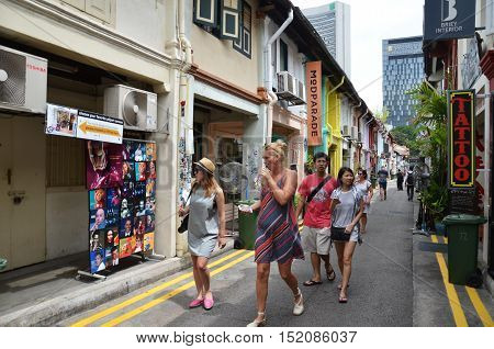 Street View Of Singapore With Haji Lane