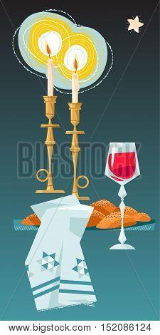 Shabbat shalom. Candles kiddush cup and challah. Jewish Holiday. Vector illustration