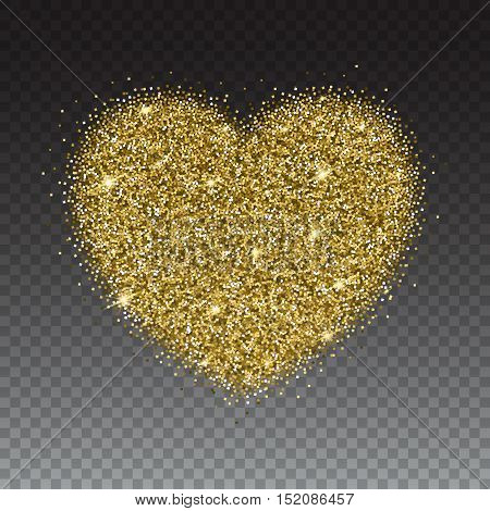 Icon of Heart with gold sparkles and glitter, glow light confetti, bright sequins, sparkle tinsel, shimmer dust. Heart sign isolated on transparent background