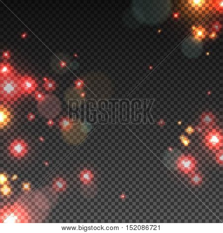 Abstract Light Overlay Effect on Transparent Background. Vector Illustration. Hot Red Bokeh and Yellow Sparkles