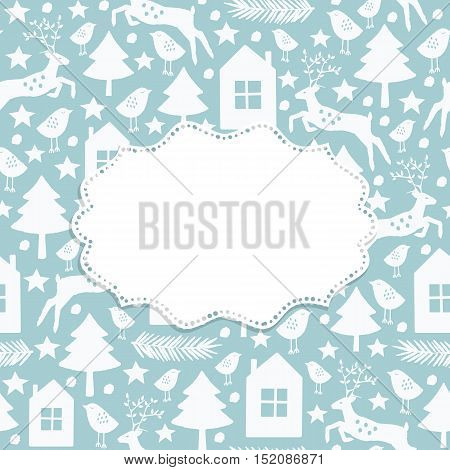 Christmas and New Year frame with Winter seamless pattern. Vector illustration.