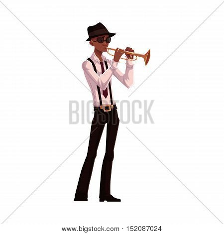 Young African American male trumpet player, cartoon vector illustration isolated on white background. Full height portrait of black man in white shirt, hat and glasses playing trumpet