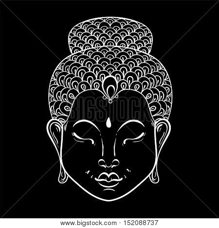 Vector white Portrait of Buddha for ornamental adult coloring pages, Buddhism tattoo art, ethnic patterned t-shirt print. Monochrome hand drawn religion illustration in doodle style.