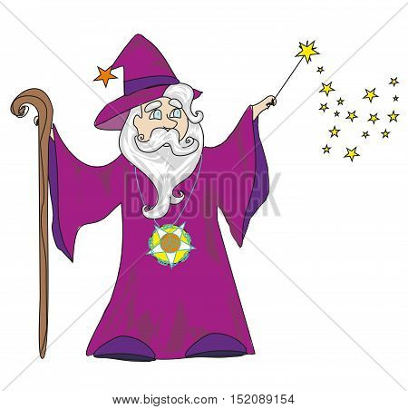 wizard with a wand on a white background , vector illustration