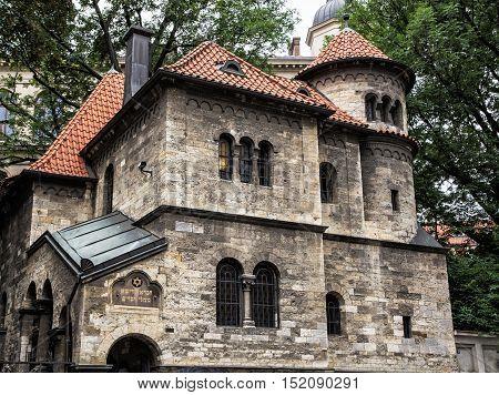 Jewish ceremonial hall in Prague near the Klausen synagogue Czech republic. Architectural theme. Religious architecture. Travel destination.