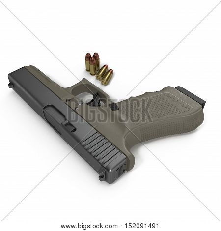 Automatic pistol with ammo on white background. 3D illustration