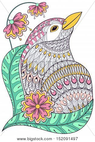 Zentangle exotic bird in colorful flowers. Hand drawn ethnic animal for adult coloring pages, t-shirt patterned print, boho posters and logo. Vector isolated illustration on white background. A4 size.