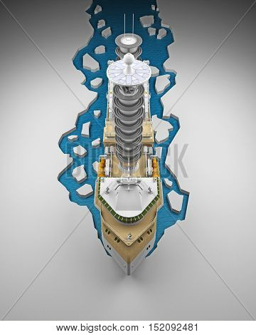 Icebreaker top view from the front 3d rendering