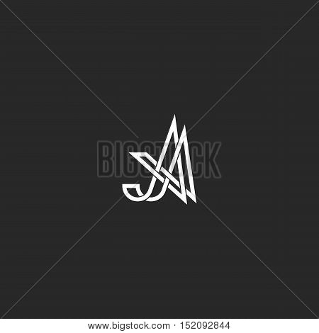 Monogram Initials Aa Letters Logo, Overlapping Thin Line A Capital, Typography Minimal Emblem Design