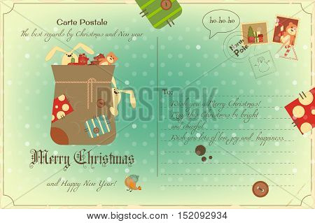 Vintage Postcard with Christmas and New Years Greeting. Backdrop of Postal Card  for Winter Holiday. Bag with Gifts and Hares. Vector Illustration.