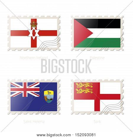 Postage stamp with the image of Northern Ireland Palestine Saint Helena Sark flag. Vector Illustration.