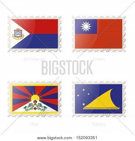 Postage Stamp With The Image Of Sint Maarten, Taiwan, Tibet, Tokelau Flag.