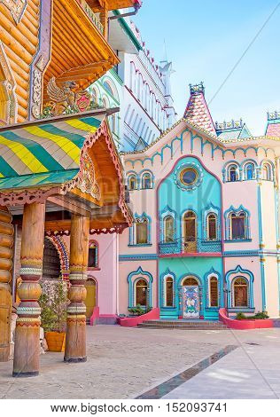 The painted buildings of the modern quarter around the Tsar's Palace looks like gingerbread houses or fairy tale palaces Izmailovo Moscow Russia.