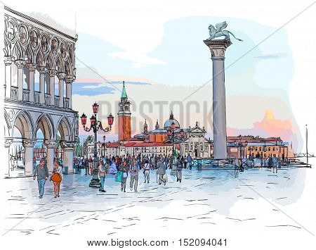 Venice - Piazza San Marco. View from the Doge's Palace & Island of San Giorgio Maggiore. Color drawing