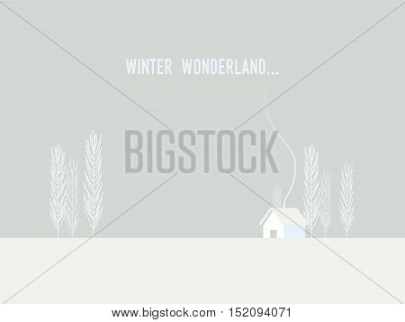 Winter Christmas wonderland with minimalistic style house and trees. Eps10 vector illustration.
