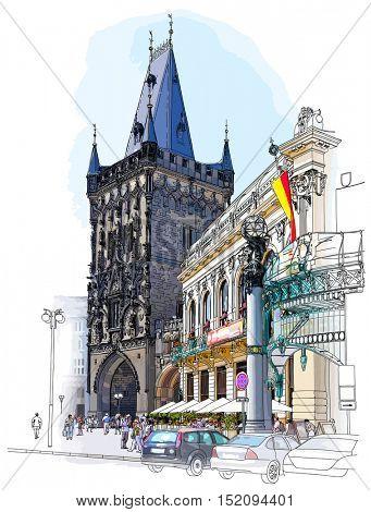 Prague - Powder Tower & Municipal House. Color architectural illustration