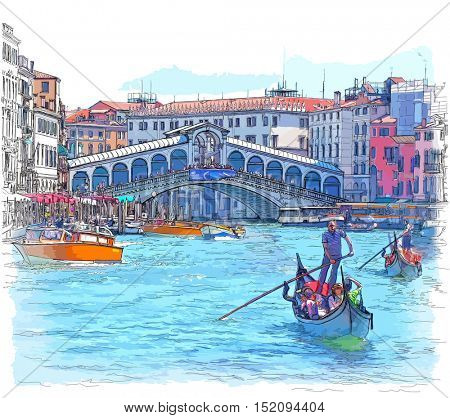 Venice - Grand Canal. View of the Rialto Bridge. Color drawing