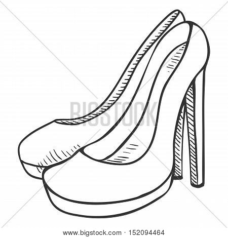 Vector Sketch Illustration - Pair Of Women High Heel Shoes
