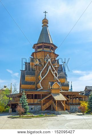 The facade of the timbered St Nicholas Church the proud of Izmailovsky Kremlin the tallest wooden church in Russia Moscow.