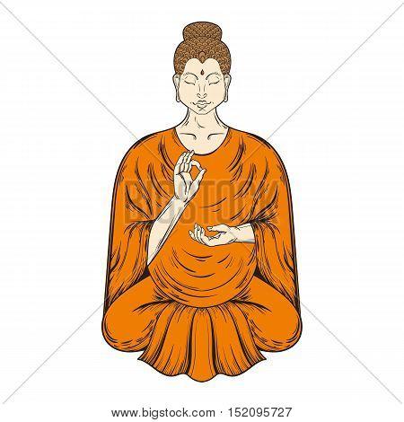 Sitting Buddha in Lotus pose, teaching Buddhism, vector tattoo art, religion t-shirt print. Monochrome vintage hand drawn illustration.  Spiritual, yoga motifs, symbol of Tibet, Asia.