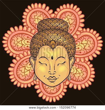 Vector artistically colorful Portrait of Buddha isolated on mandala, Buddhism tattoo art, ethnic patterned t-shirt print. Monochrome hand drawn religion illustration in doodle style.