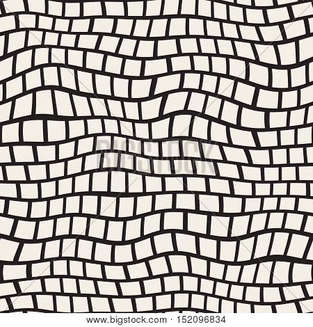 Vector Seamless Black And White Distorted Pavement Pattern. Abstract Background Design