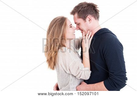 Attractive Couple Being Affective And Looking Happy