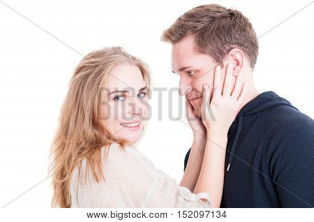 Happy Couple Portrait Cuddling And Being Affective