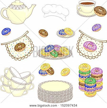 Set of color culinary pictures with donuts. Cups, plates, donuts, teapot, apron, cook cap.  Vector illustration.