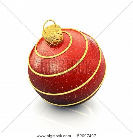 Christmas bauble on white background with small reflection and shadow , 3d illustration