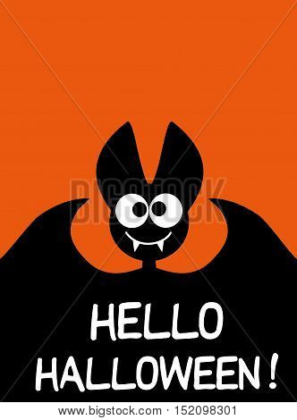 Hello Halloween background idea for a festive printed products or background for the site with black bat Halloween Happy vector kids funny background with cartoon bat Halloween 31 Oct Halloween sale