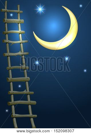 Illustration for fairytale cards and cover with a crescent moon and stars in the night sky. Ladder. Vector graphics