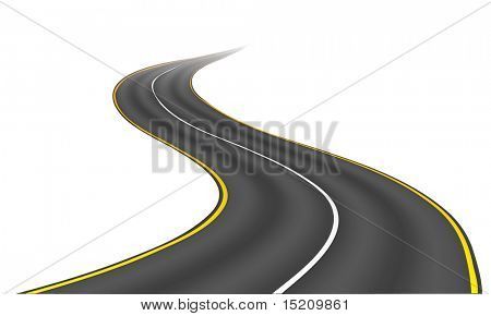An image of a nice road isolated on white