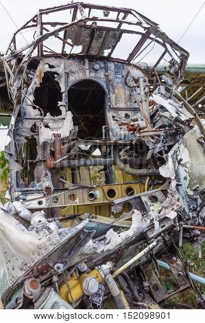 Old cabin crashed Russian plane. Salvage Soviet aviation
