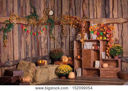 Fall wooden interior with pumkins, autumn leaves and flowers. Halloween and thanksgiving decoration