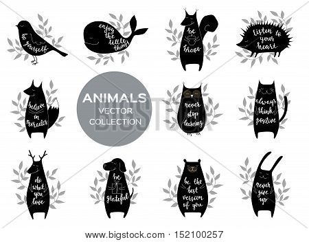 Set of eleven cute animls with motivation phrases. Brush hand lettering. Isolated vector illustration