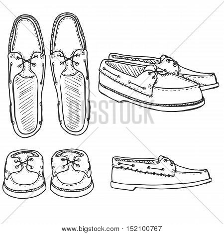 Vector Set Of Sketch Topsider Men Shoes. Top, Side And Front View