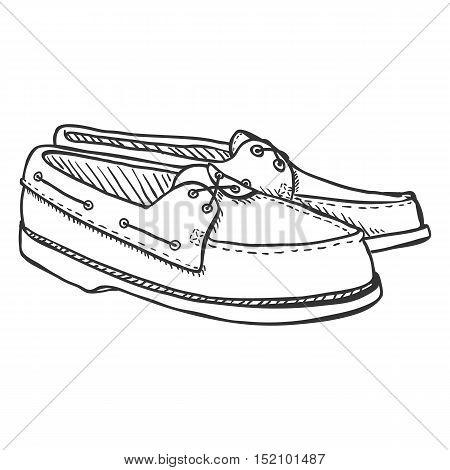 Vector Sketch Illustration - Pair Of Topsider Men Shoes