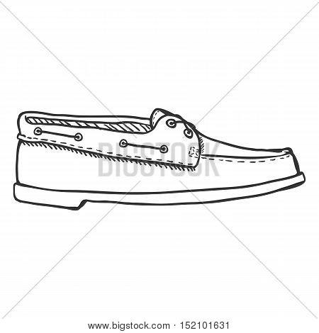 Vector Sketch Illustration - Topsider Men Shoes. Side View