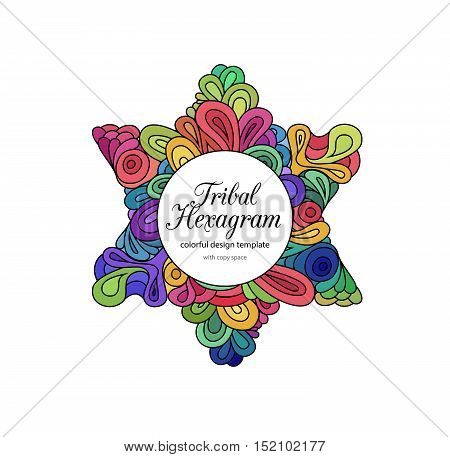 Doodle style colorful hexagram design template with copy space. Colorful zentangle hexagram sketch on white.