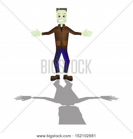 Halloween cartoon Frankenstein monster character standing with shadow illustration