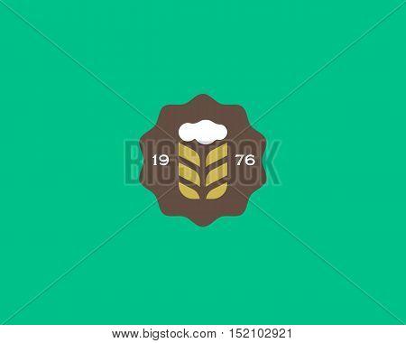 Brewery logotype. Beer logo design template. Pub modern symbol. Stylized mug of beer badge emblem